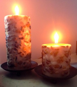 I chose these candles because the stones remind me of the ones on the Susquehanna River Bank in Lewisburg